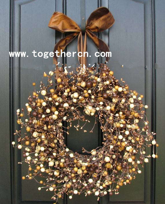 wholesale Christmas Led berry star garland flower wreath