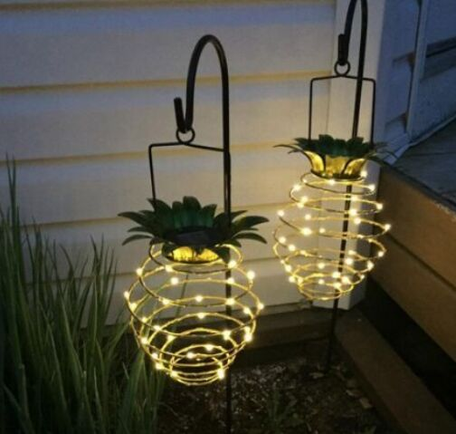 Solar Powered 25 LED Pineapple Lights Hanging Fairy String Waterproof for Outdoor Garden Decor
