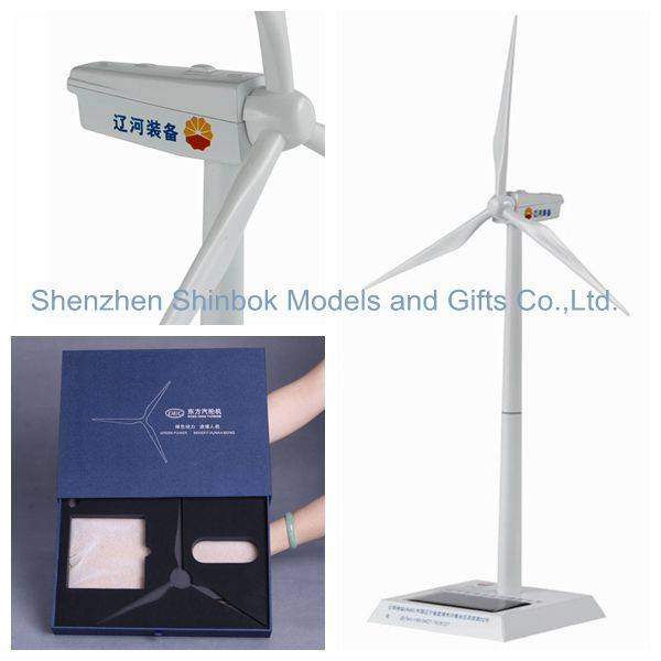 Zinc alloy and ABS plastic blades Diecast Hybrid Solar Windmill Model