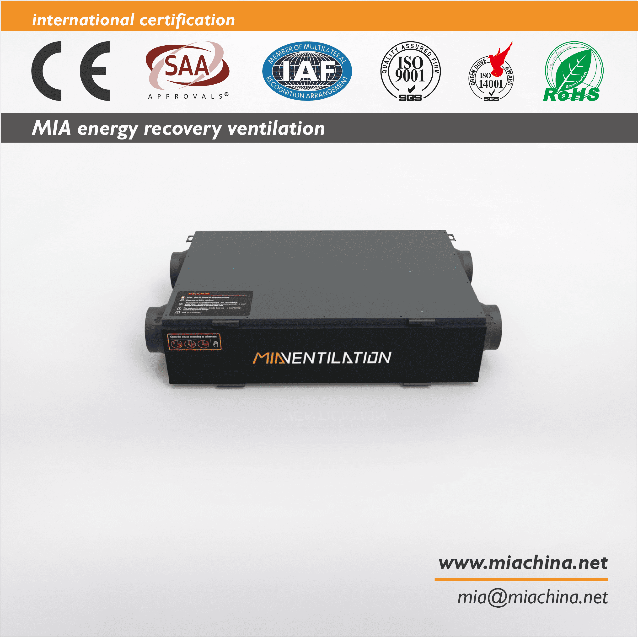 MIA-AHE200GL 2000m3/h Carbon & HEPA Filter For Home Console Type Energy Recovery Ventilation System