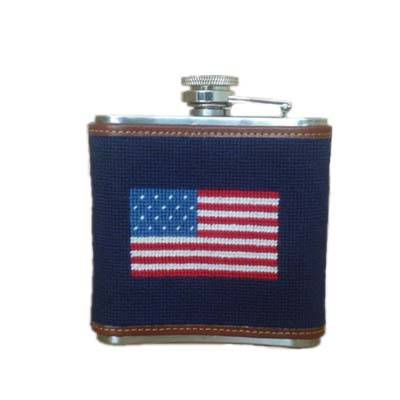 American flag needlepoint flask with 5oz stainless steel