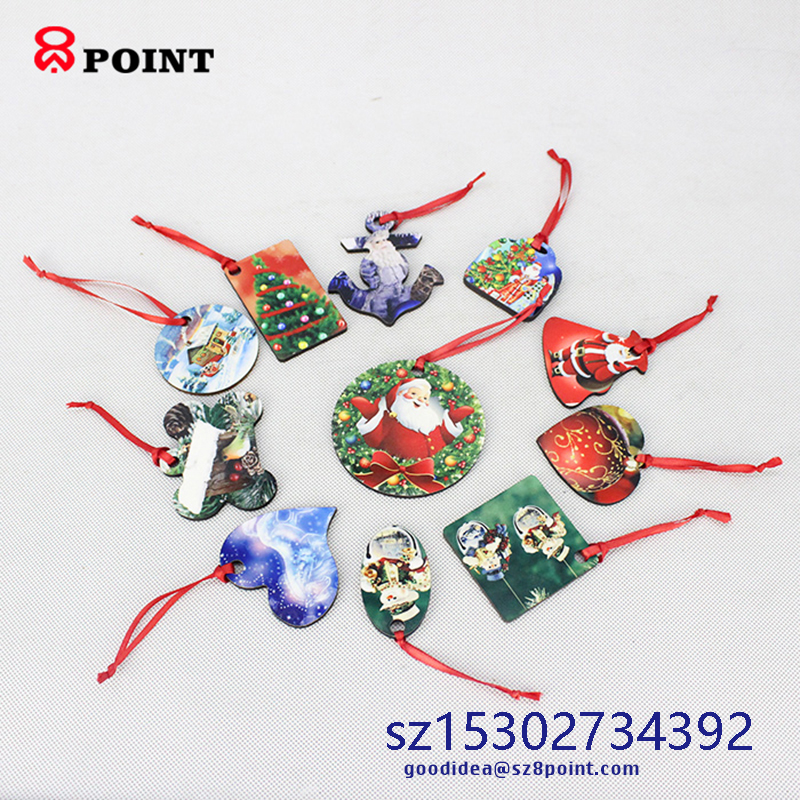 Sublimation MDF wooden festival decoration Christmas tree ornament