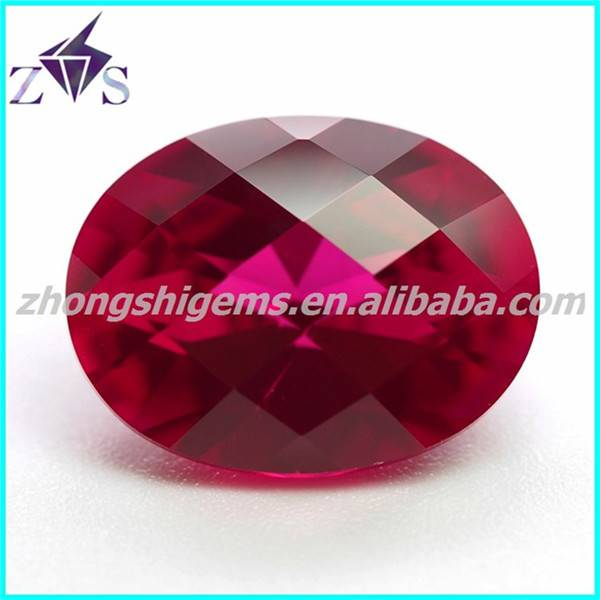 Attractive Checker Board Cut Oval Synthetic  Ruby