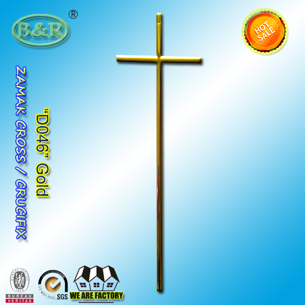 zamak coffin decoration D046 metal cross funeral use gold color