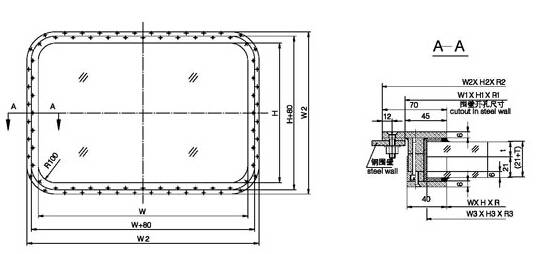 A60 Fireproof Rectangular Window