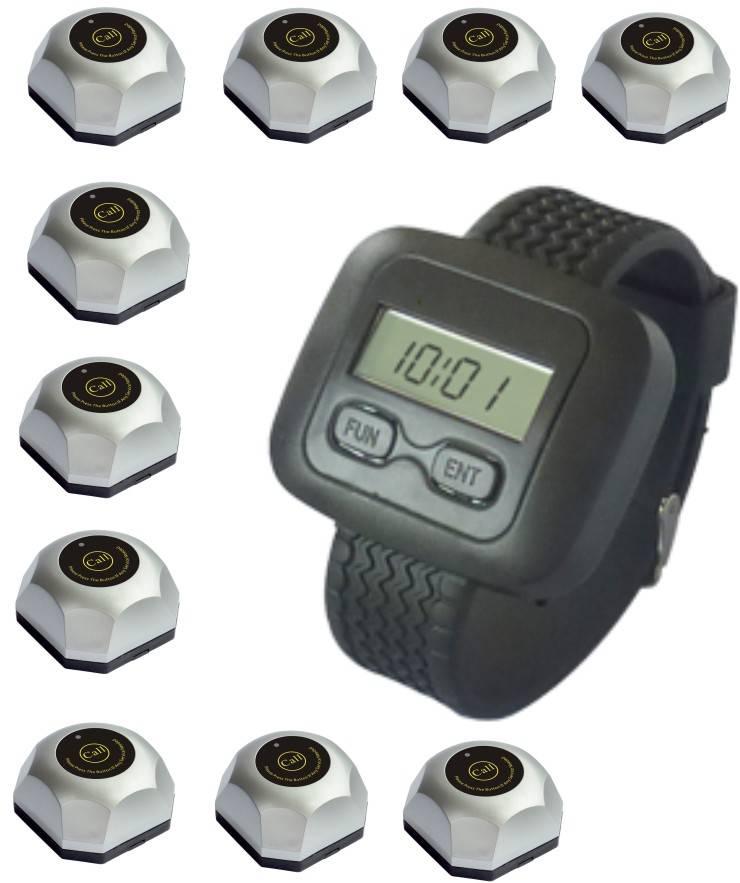 Watch paging system, restaurant call, wireless waiter service, watch receiver