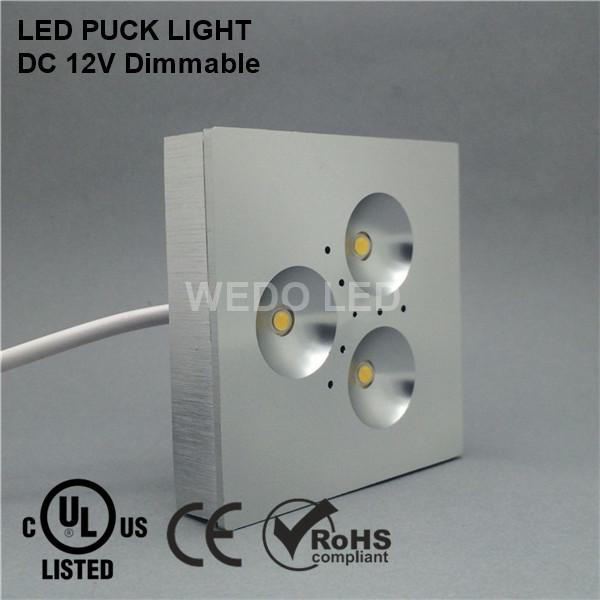 High Quality UL 12V 3W Square LED Puck Cabinet Light