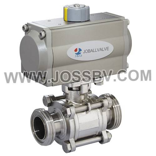 Sanitary 3PCS Thread Ball Valve With Actuator