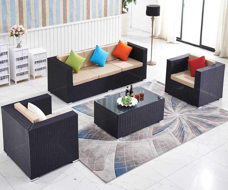 Rattan sectional sofas with aluminum frame