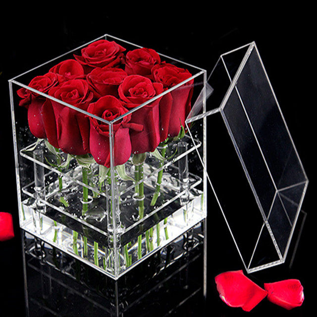 Wholesale kingsign clear acrylic beauty flower rose box cases