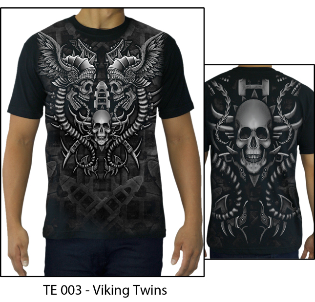 High Quality Printed Cotton T-shirt - TATTOO VIKING TWINS