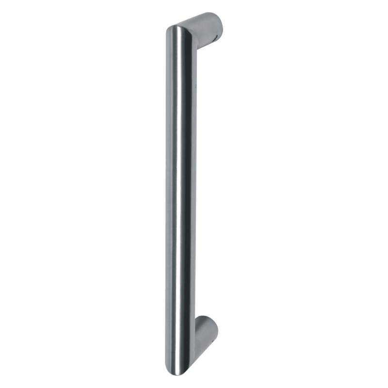 Mitred Door Pull Handle D Shape with Roses Polished Stainless Steel
