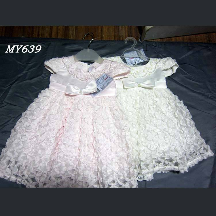 Party dresses kids wear fashion design small girls dress zipper on back little girl flower dresses