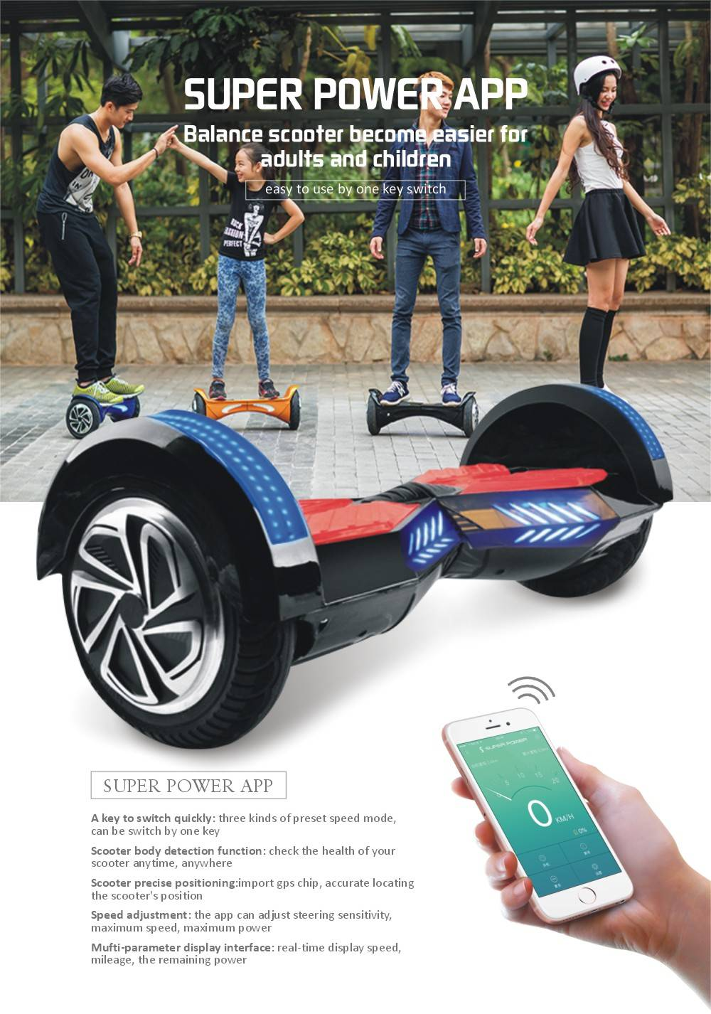 2016 New 8Inch Scooter Electric Scooter Two Wheel Balance With Bluetooth speaker + Remote Hoverboard