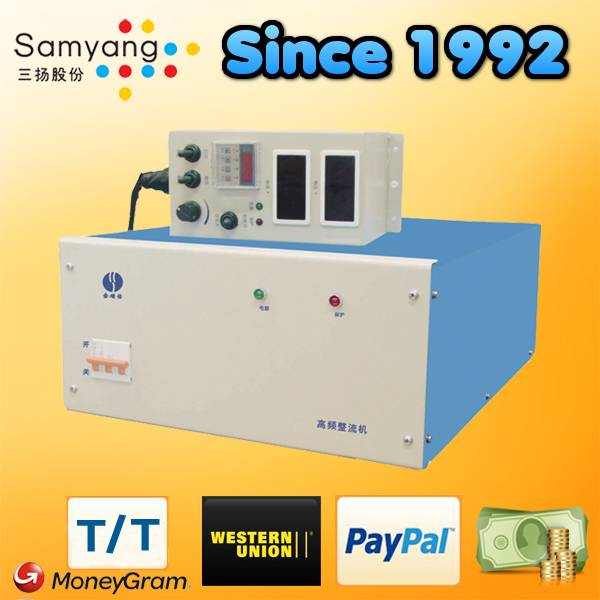 High frequency switching DC plating rectifier with timer