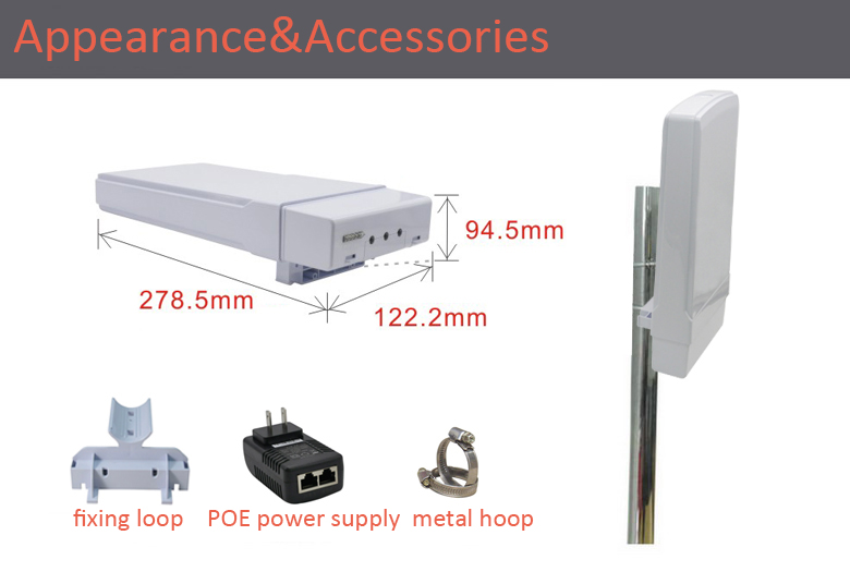 3km 300Mbps 5.8G industrial outdoor wireless bridge,AP cpverage,remote monitoring equipment