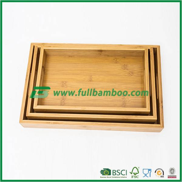 Eco-Friendly Natural Bamboo food serving Trays with Handles, bamboo tray