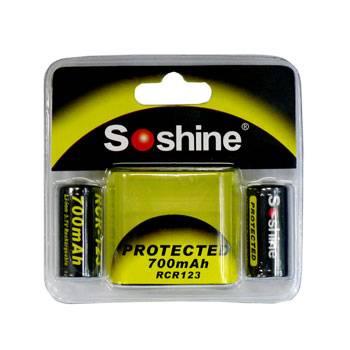 Soshine Li-Ion RCR123 700mAh 3.7V Protected Battery