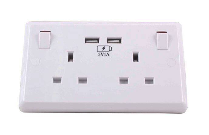 Made in China factory supply 2 usb PBT material hot selling usb wall socket