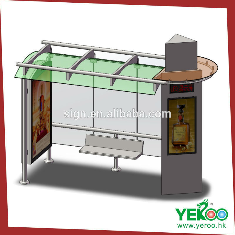 Galvanized sheet rectangle metal advertising bus shelter with ticket shop