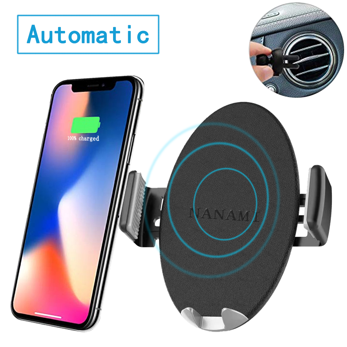 Automatic Sensor Wireless Car Charger, Qi Car Charger Mount, one-Touch Qi Fast Wireless Charging Air