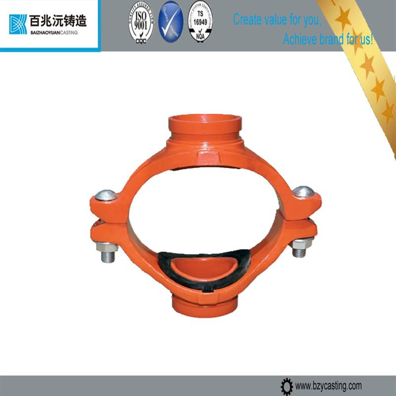 2014 Promotion--cast iron Mechanical Cross Grooved pipe fittings--Epoxy and Painted