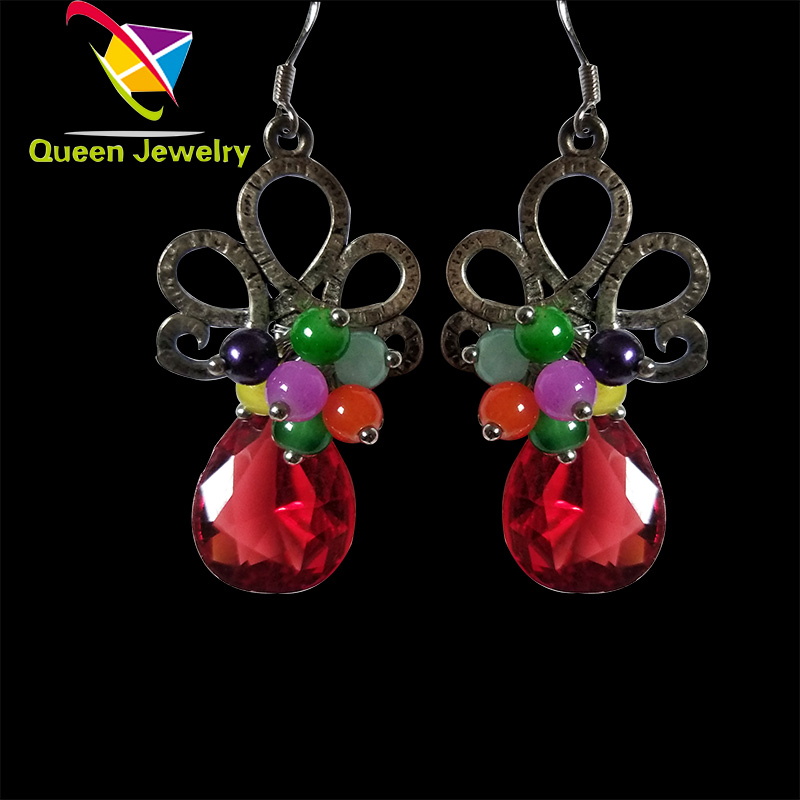 European fashion earring 2017 silver plated colorful bead red teardrop rhinestone handmade earrings