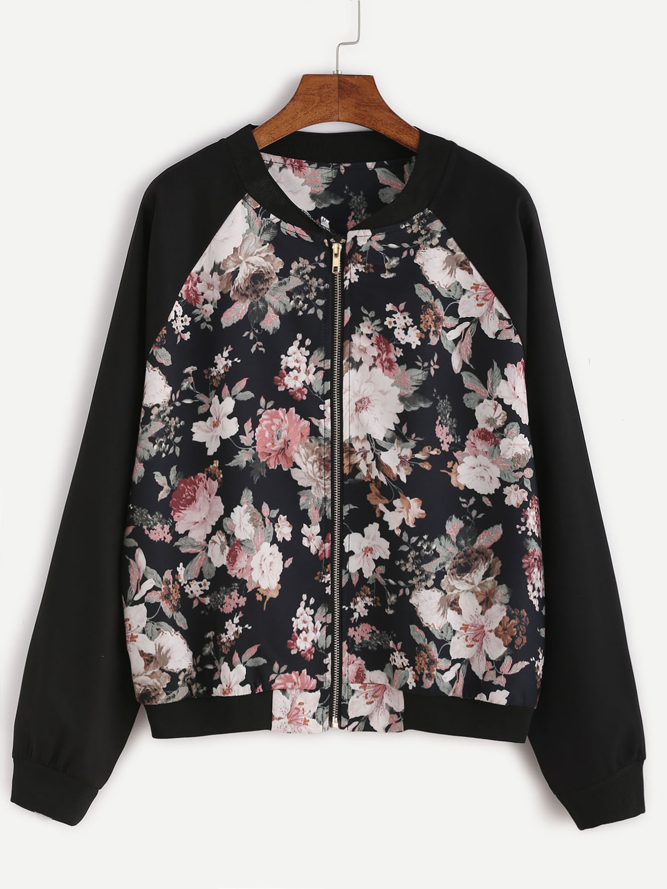 Korea style new design zipper floral pattern women jacket