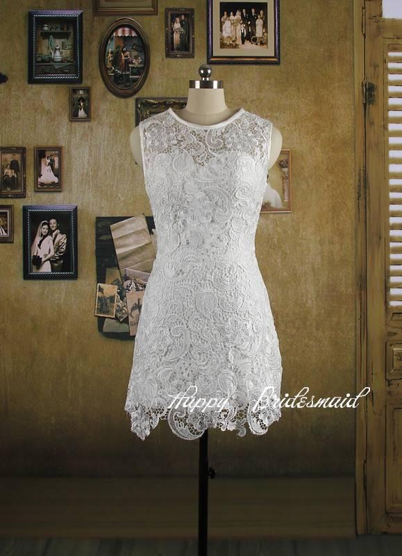 White Lace Short Pencil Dress, Bridesmaid Dress, Reception Dress