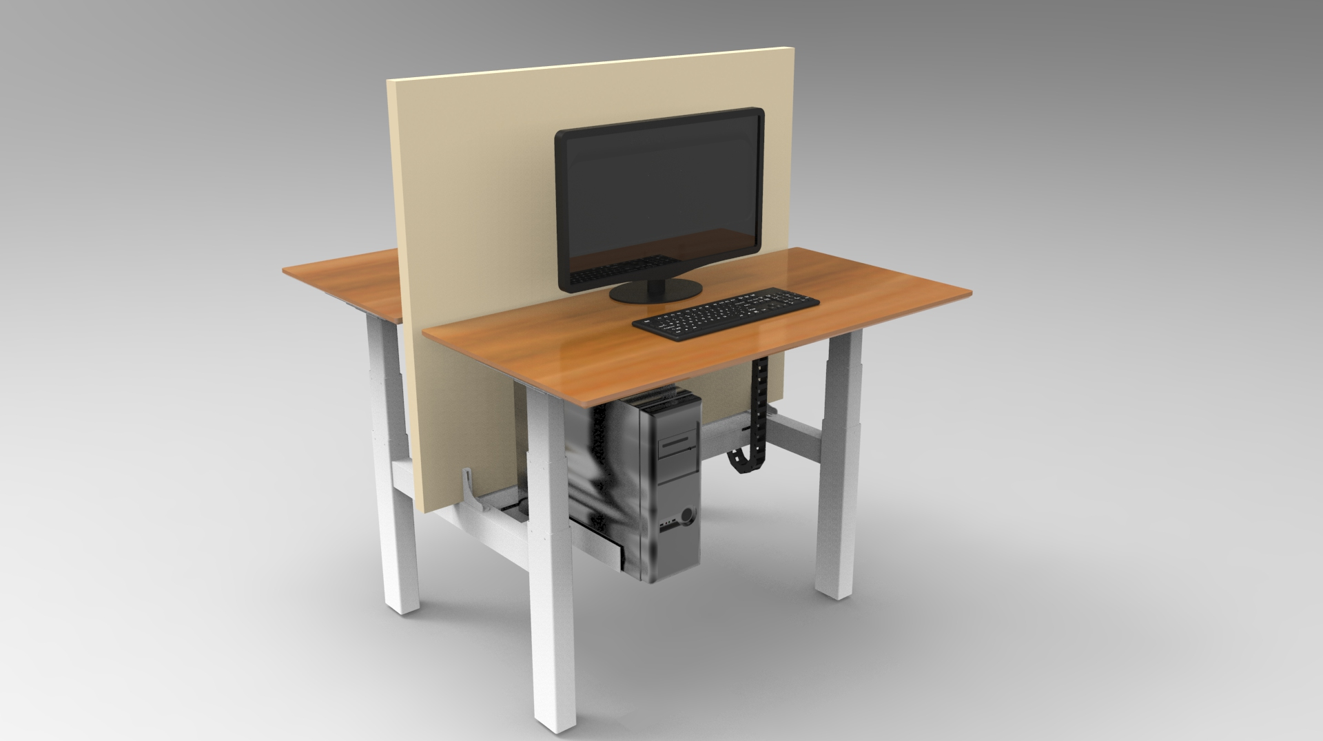 height adjustable desk back to back work station by electric lifting up