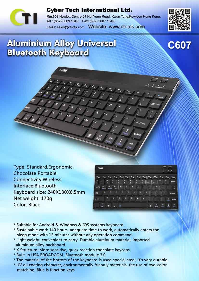 Aluminum Alloy Universal Bluetooth Keyboard
