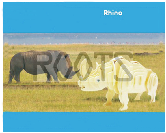 Rhino-3D wooden puzzles, wooden construction kit,3d wooden models, 3d puzzle