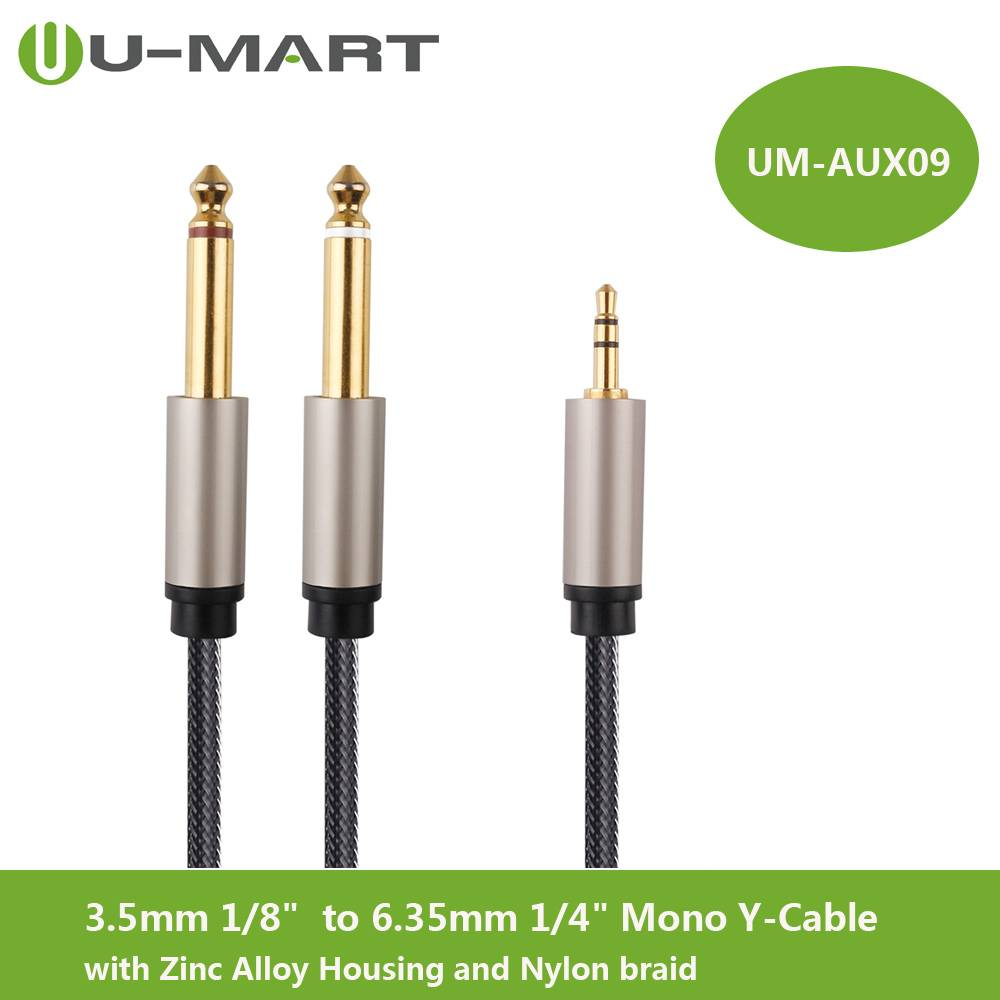 "3.5mm 1/8""  to 6.35mm 1/4"" Mono Y-Cable Splitter Cable with Zinc Alloy Housing and Nylon braid"