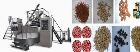 Pet food extruder with steam heating