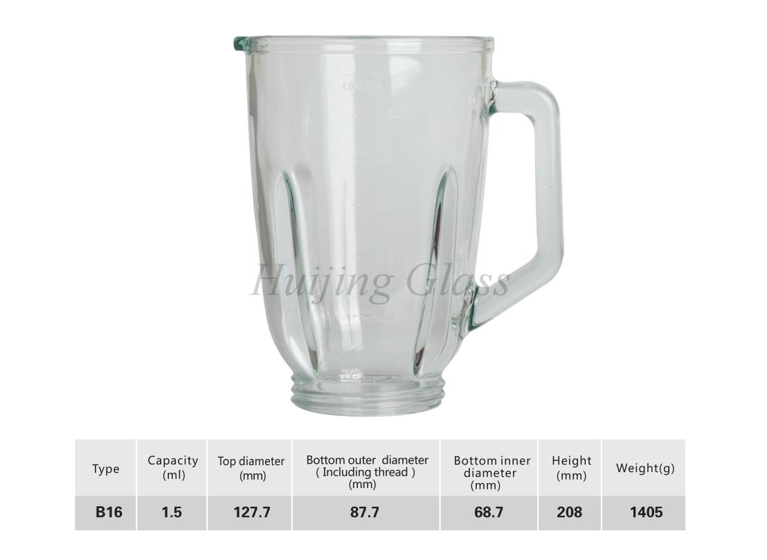 1.5L spare parts juicer soda-lime blender parts glass jar B16 vaso de licuadora
