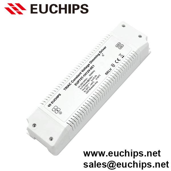 200-240VAC 75W 6.2A 1 Channel Triac Constant Voltage Dimmable LED Driver EUP75T-1H12V-0E1