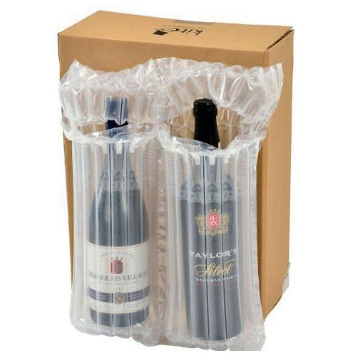 Inflatable air packaging bag for 2 wine bottles