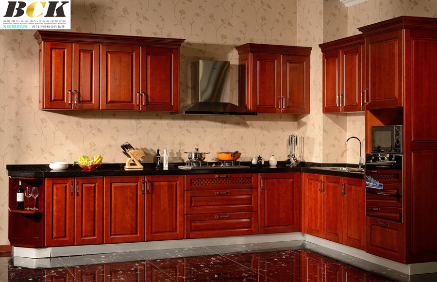 American Fashion Cherry Wood Kitchen Cabinet
