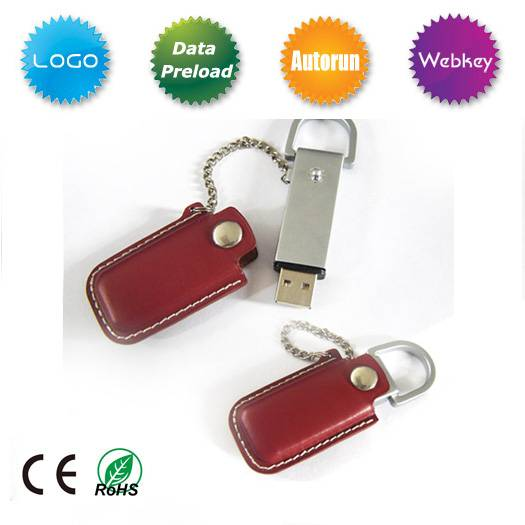 Leather USB Flash Disk for promotional gift