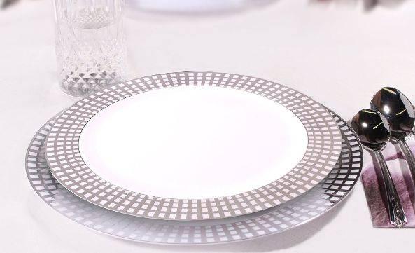 Silver rim plate,gold rim plate
