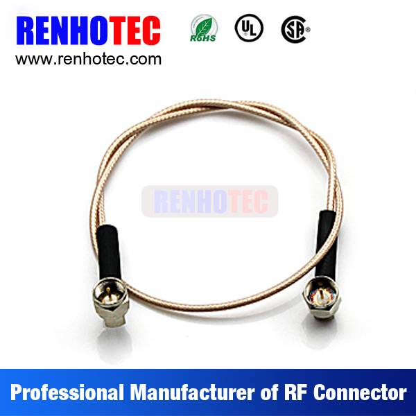 90 Degree Double F Plug Coaxial Wire Connectors Custom Cable Assembly for RG58 RG59 RG174