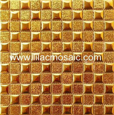 Gold Ceramic Mosaic Tile For Lobby Restaurant Wall Decoration
