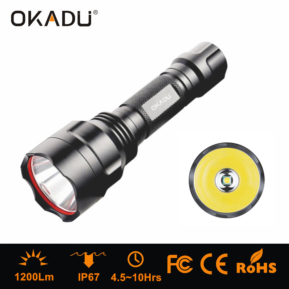 OKADU ST03A 18650 Rechargeable Battery LED Police Torch 1200Lumens Cree T6 LED Police Flashlight