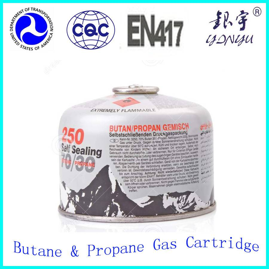 camping butane gas cartridge/gas cylinder with screw type of valve