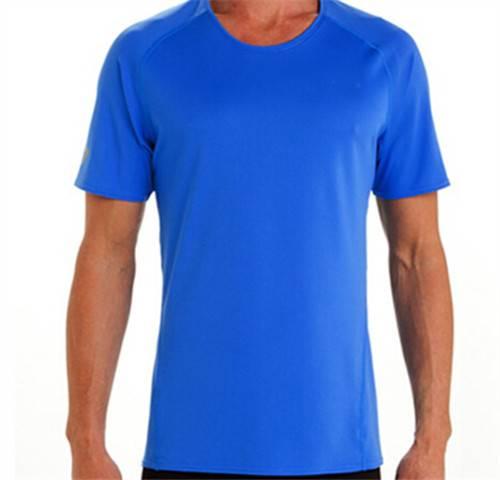 180 grams of men terylene bird 's-eye moisture absorption perspiration round collar sports T-shirt