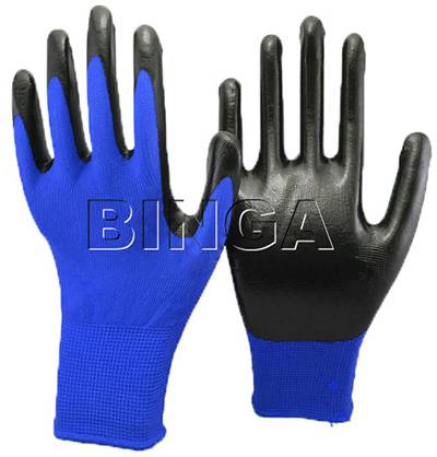 China Blue Nitrile Coated 13G Polyester Safety Glove
