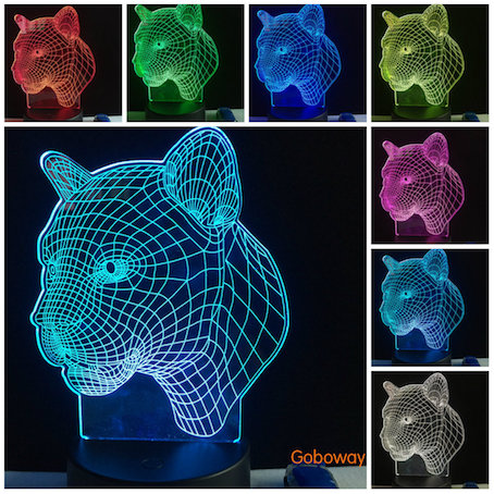 3D Leopard LED Night 7Color Change Touch Switch Table Desk animal bedroom Lamp Light
