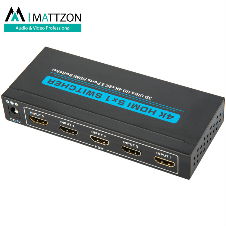 Mattzon 4k 5 ports 5x1 Hdmi Switcher splitter support 4k@30Hz,HDCP1.4, HDR,3D, PRIVATIE MOLD,