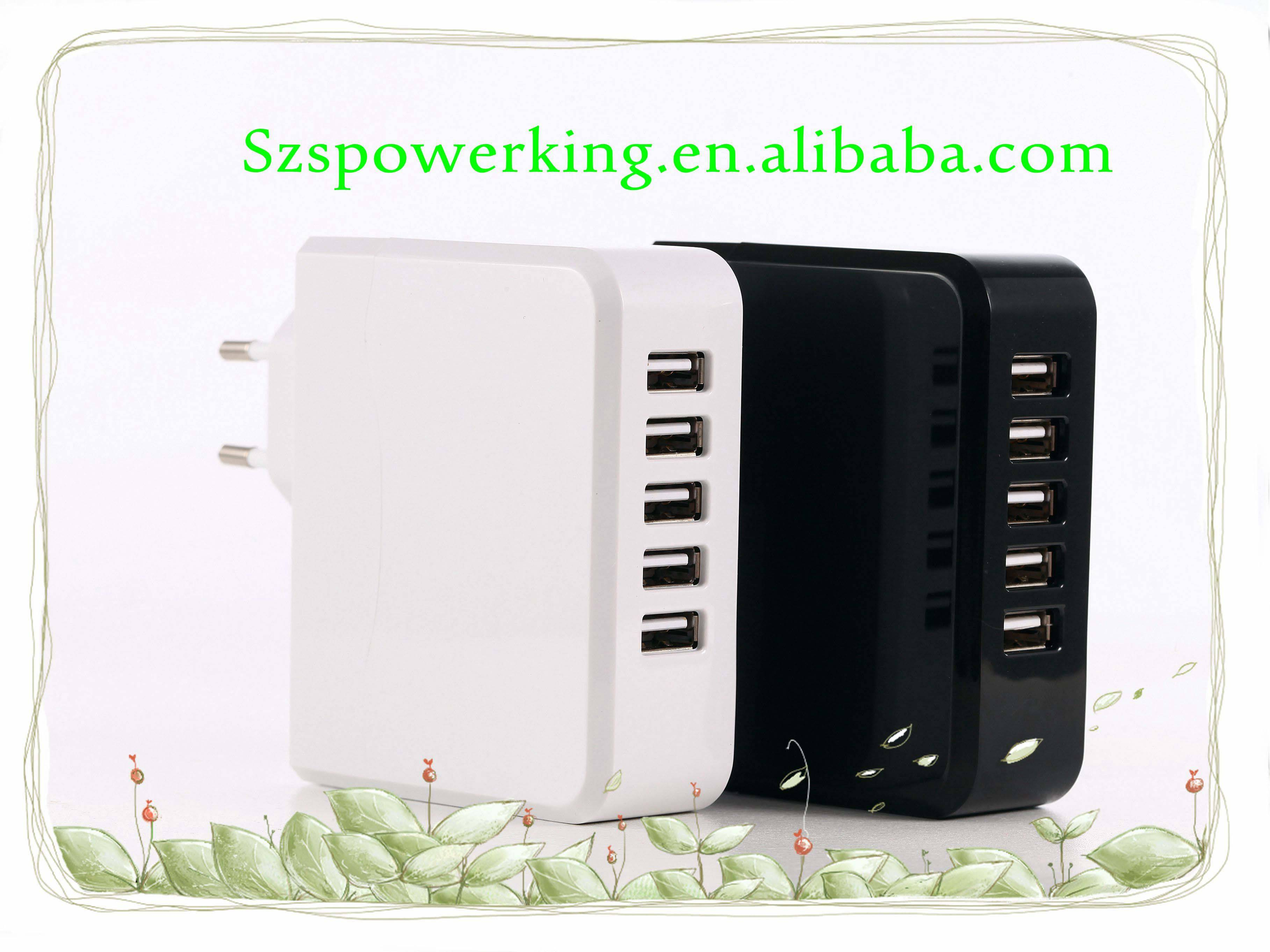 5ports wall charger 5V 6.8A USB adapter with EU, US plug