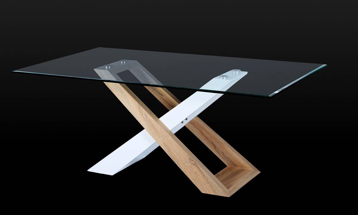 Modern Design Dining Table with 12 Mm Tempered Clear Glass Top